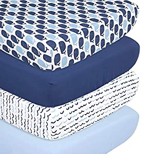 The Peanutshell Nautical Fitted Crib Sheet Set – 4 Pack Nursery Set – Solid Blue, Whale Theme, & Waves
