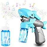 Funkprofi Baby Shark Bubble Machine with Music for Kids Outdoor Playing, Colorful Lighting Bubble Blower with Bubble Solution for Toddler, Rainbow Bubble Maker Toys for Party Ceremony Activities
