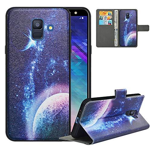 LFDZ Funda Samsung A6 2018,Fundas Galaxy A6 2018 de [2en1,Desmontable] PU Cuero Billetera,[Bloqueo de RFID] Libro Magnético Soporte Case Carcasa para Samsung Galaxy A6 2018/SM-A600N/A600,Planet