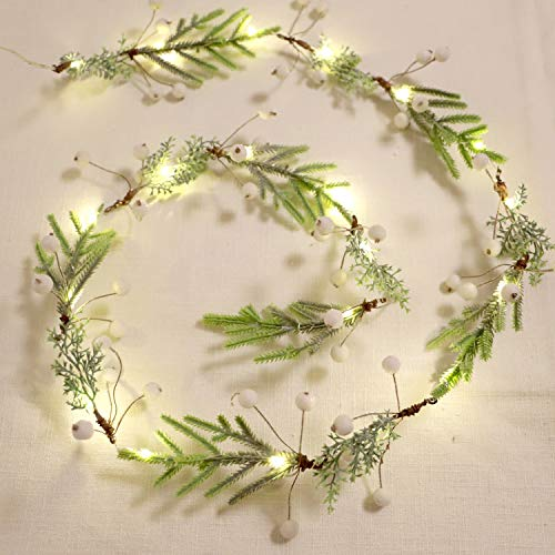 XIWU Pine Branches String Light Twined White Berry 5ft 20LEDs Handcrafts Battery Operated Twig Vine Lights with Timer for Bedroom Christmas Tree Fireplace Festival Garland Decor