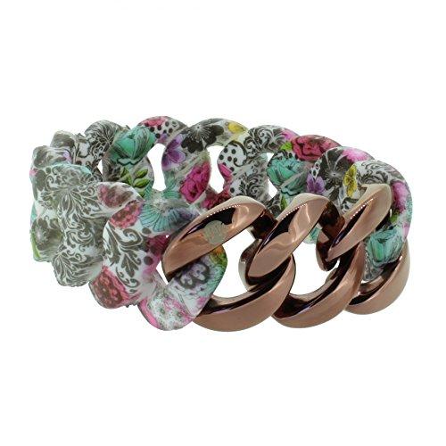 Hanse-Klunker Armband Damen ORIGINAL Silikon Muster Paisley Flower, Edelstahl Bronze Frauen Mädchen Größe 18-19 cm inkl. Schmuck-Geschenk-Box