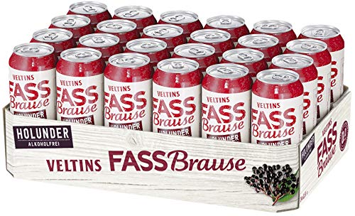 VELTINS Fassbrause Holunder Alkoholfrei, EINWEG (24 x 0.5 l Dose)