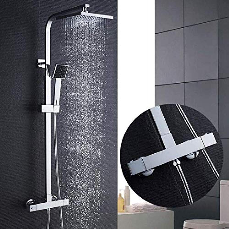 Shower Bad Thermostat-Duschset, Konstante Temperaturregelung Bad Wasserhahn Duschsystem, Messing Chrom