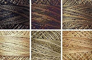 Valdani Perle Cotton Size 12 Embroidery Thread ''Essential Neutrals Kim Diehl'' Sampler Set - 6 Variegated Colors, 109 Yards Each