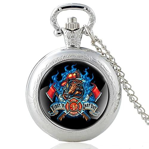 JTWMY Classic Fire Dog Fireman Pattern Glass Cabochon Vintage Quartz Pocket Watch Collana con Ciondolo Orologio-Argento