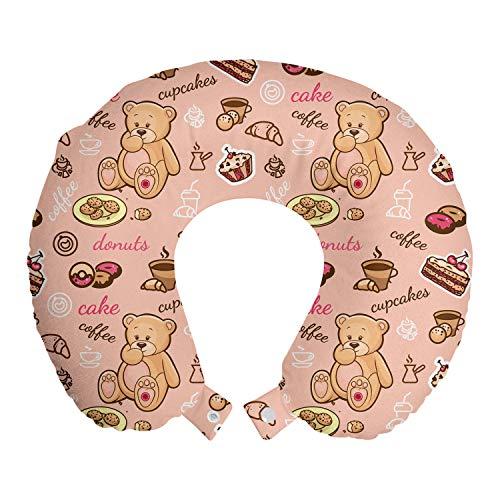 ABAKUHAUS Postre Cojín de Viaje para Soporte de Cuello, Cupcakes Galletas Donuts, de Espuma con Memoria Respirable y Cómoda, 30x30 cm, Marrón Arena coralina