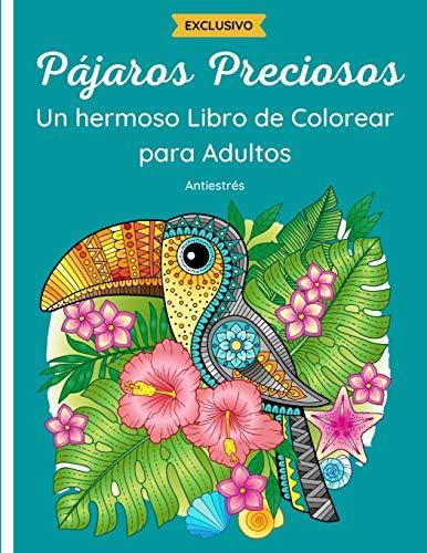 Pájaros Preciosos - Un hermoso Libro de Colorear para Adulto: 50 fantásticos dibujos de aves : búhos, colibríes, pavos reales y otros con mandalas y flores. Relajación y antiestrés