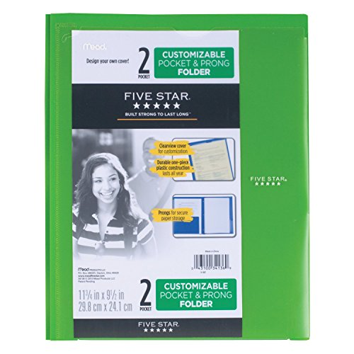 Five Star 2 Pocket Folder with Prong Fasteners, Folder with Pockets, Customizable Cover, Plastic, Color Selected for You, 1 Count (34136) Photo #9
