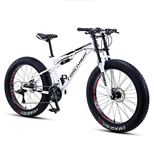 Bicicleta Montaña MTB 26/24 Pulgadas, Premium Doble Suspensión Bicicleta de Montana de Fat Tire para Adultos Niña, Niño, Hombre y Mujer, Marco de Acero Carbono,Blanco,26 Inch 30 Speed