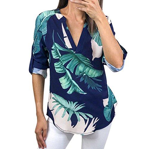 TEBAISE Mid Season Fashion Design Frauen Damen Reisen Datierung Bunte Blumendrucken Halbarm T-Shirt Unregelmäßige Tops Bluse Jumper Blau1 44 DE/L CN