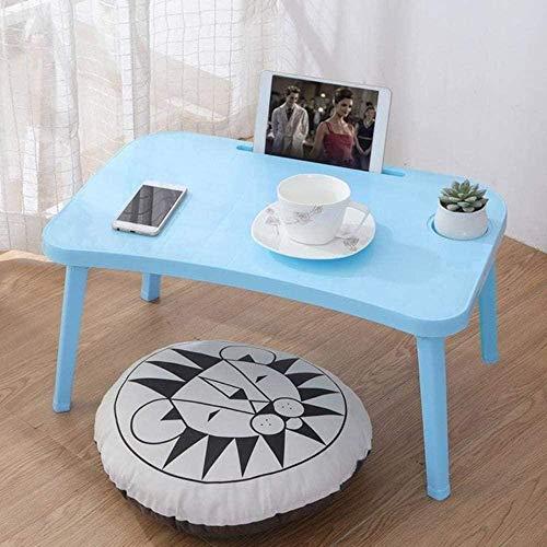 YSSJT Mesa para portátil Plegable Escritorio para portátil Bandejas de Cama para Servir el Desayuno Plegable Ajustable con Tapa abatible y Patas Soporte de Escritorio para computadora PÚRPURA-Azul