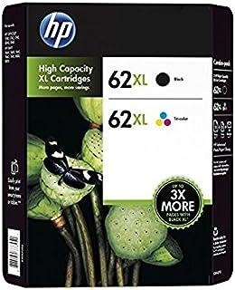 HP 62XL cartucho de tinta Original Negro, Cian, Magenta, Amarillo Multipack 2 pieza(s) - Cartucho de tinta para impresoras (Original, Tinta a base de pigmentos, Negro, Cian, Magenta, Amarillo, 2 pieza(s), F6U02BN, HP)
