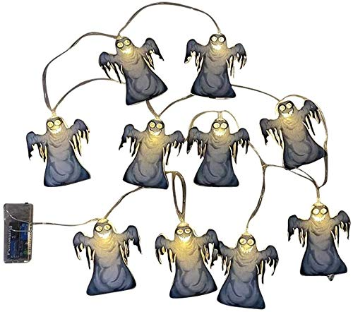 WSXQAZ Props Halloween Decorations, Led String Lights Halloween Decor, Ghost Patterns Halloween Decorations Outdoor Suitable for Home Decoration Halloween Party Supplies (Color : A)