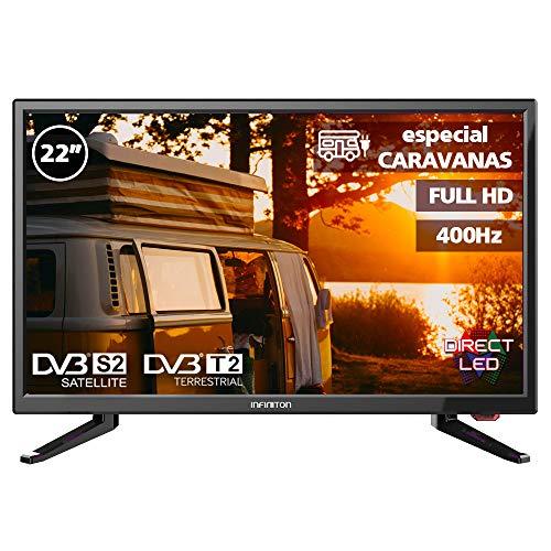 Television LED 22' INFINITON INTV-22M303 Full HD (Especial CARAVANAS (12V Incluido), USB, HDMI, Modo Hotel, Reproductor/Grabador USB)