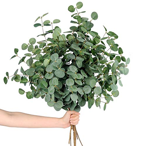 Miracliy 7 PCS Artificial Eucalyptus Stems, Faux Eucalyptus Leaves Greenery Stems for Vase Home Party Wedding Decoration