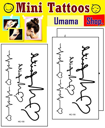 Umama Lot of 3 Mini Tattoos Love Heart Pulse Life Line Black Ink Tattoo Fake Heart Pulse Cartoon Temporary Tattoos Waterproof Sexy Body Painting Designs Patterned Tattoo for Man Women Teens