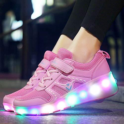 Mhwlai Kinder Einrad Sport Riemenscheibe Schuhe, männliche und weibliche Kinder Schlittschuhe für Erwachsene ultraleichte Radspitze Schalter LED-Licht Schuhe,C,40