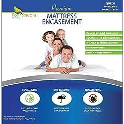 small Four Seasons Essentials Queen Mattress Cover Bed Bug Waterproof Zipper…