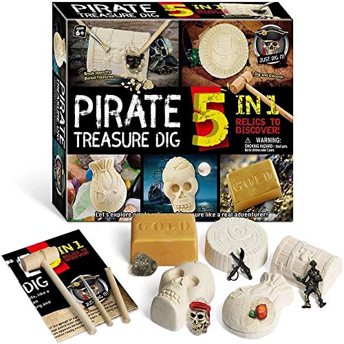 HB.YE 5 In 1 Kinderspielzeug für Fossile Archäologische Ausgrabungen,Fossiler Bergbau Ausgrabungsset Spielzeug Lernen Geschenk Junge Mädchen (Pirat)