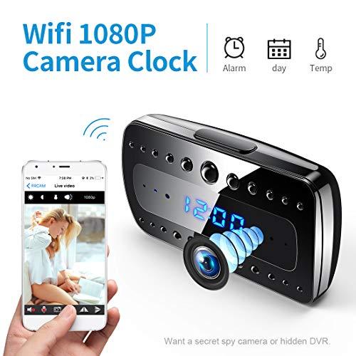 Cámara espía FREDI, 1080P HD WiFi Cámara Oculta Despertador Mini cámara espía, Cámaras de vigilancia Seguridad domésticas inalámbricas Alarma/Visión Nocturna/Detección de Movimiento