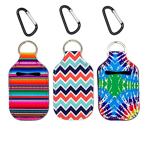 Party Girl Kim Hand Sanitizer Holder - 1 oz Travel Size Hand Sanitizer Keychain Holder, Attaches Easily to Your Purse, Backpack, Diaper Bag With Key Ring and Carabiner Clip Serape Tie Dye