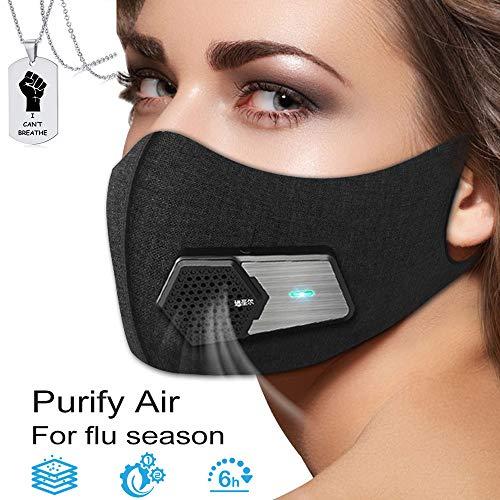 JJIIEE Wiederverwendbare elektrischer Staubgesichtsschutz, 5 Composite-Filter Lufterfrischer Purifier, 97,85% Filtration Schutz, Wiederaufladbare, freier eine Halskette