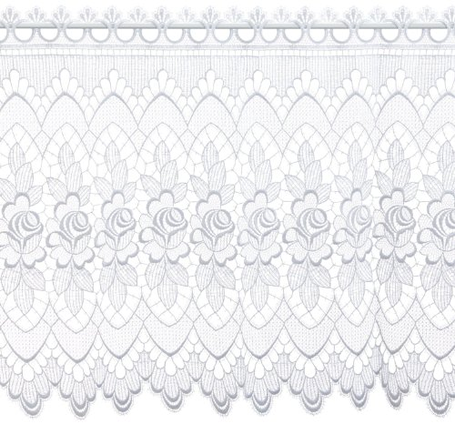 Plauener Spitze by Modespitze 68161_60, Tendine in Pizzo, 100% Poliestere, Bianco, Larghezza: 176 cm
