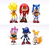 FENGHE Sonic Figures Juguete 6 Unids/Lote Animación Sonic World Adventure Metal Sonic Werehog Tails PVC Action Figures Shadow Knuckles Anime Figurines Dolls Kids Toys Set
