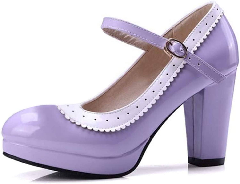 BestLifes Sexy Women Bowtie Round Toe High Heel shoes Women Ankle Strap Thick Heels Pumps