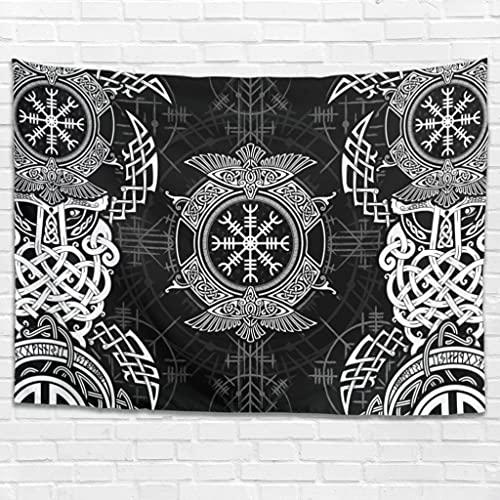 Tapiz de pared con runas vikingas, cuervo hippy, decoración de pared, arte de pared para dormitorio, salón como toalla de playa, mantel blanco, 150 x 150 cm