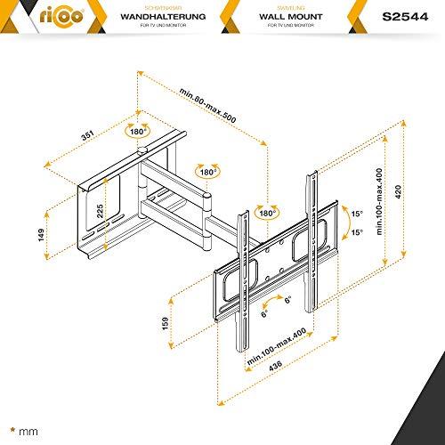 RICOO Fernsehhalterung Schwenkbar Neigbar S2544 Fernseher Wandhalterung TV Halterung Curved Fernseh Wandhalter Flatscreen LED LCD 4K Schwenkarm Moebel VESA | 200 | 400 | Flachbildschirm: 30 32 34 40 42 43 45 55 Zoll - 7