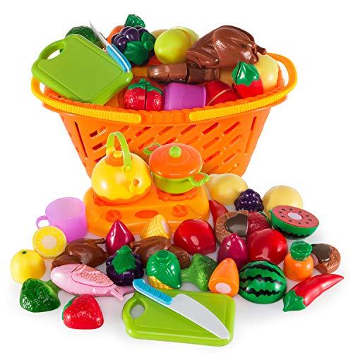 Ulikey 21 Stück Küchenspielzeug Schneiden Obst, Küchenspielzeug für Kinderküche - Lebensmittel Spielzeug Set mit Korb, Kinder Pädagogisches Lernen Spielzeug Rollenspiele Küchenspielzeug