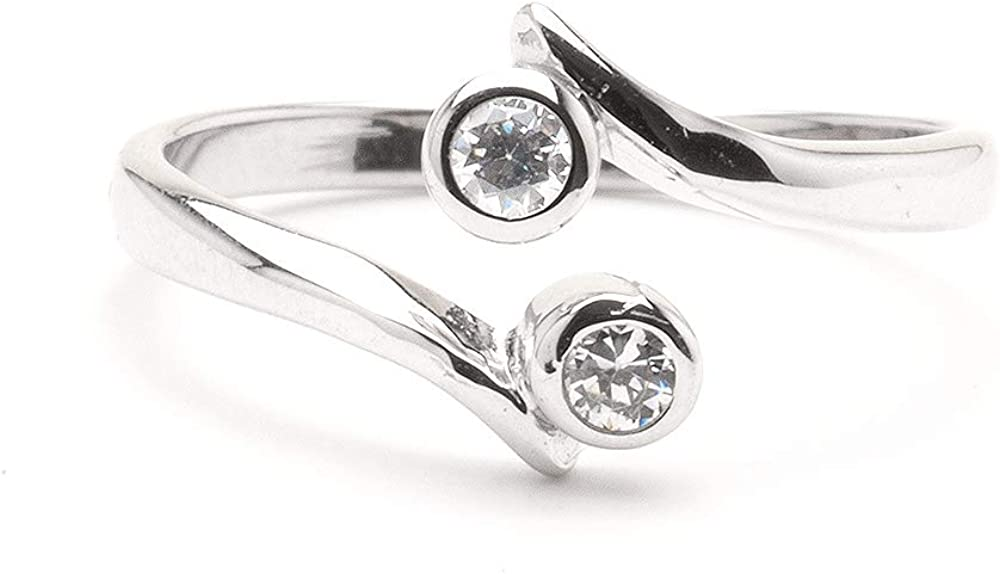 10k White Gold Toe Ring Clear Double CZ. Size Adjustable