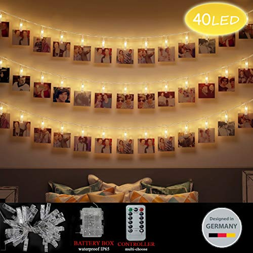 LED Foto Clips Lichterketten, Looyat 40 Photo Clips 5M Fernbedienung Batteriebetriebene Dimmbare Foto-Display Starry Lampe mit 8 Modi, für Hang Pictures Karten