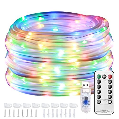 Lepro 12m Lichtschlauch Bunt, 100 LEDs 8 Modi Dimmbar USB Lichterschlauch RGB mit Fernbedienung, IP65 Lichterkette für Innen Außen Party Hochzeit Weihnachten Deko