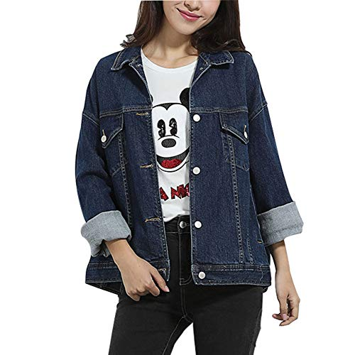 jeans jacket Chaqueta De Mezclilla_Nueva De Las Mujeres De Las Mujeres ImpresióN De Moda Suelto Parche Abrigo Chaqueta Oversize