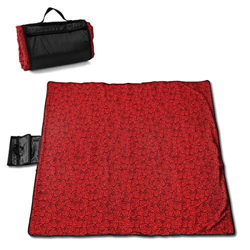 Nonebrand Picknickdecke mit rotem Rosen-Hintergrund, waschbar, faltbar, wasserdicht, für Picknick, Camping, Strand, große Größe 144,8 x 149,9 cm