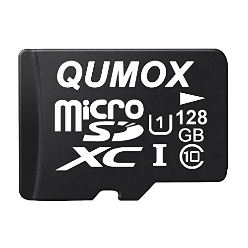 QUMOX 128GB Micro SD Memory Card Class 10 UHS-I 128 GB 128Go Go Carte mémoire HighSpeed Write Speed 30Mo/S Read Speed Upto 80Mo/S