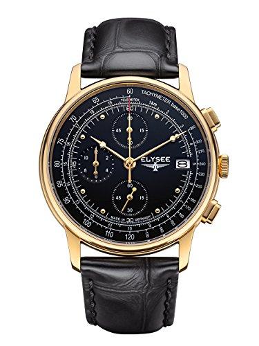 Elysee Heritage Herren Armbanduhr 11012 Chronograph Leder schwarz