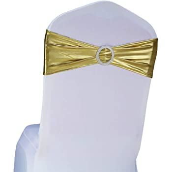 SINSSOWL 100 pcs élastique Spandex Housses de Chaise Bandes nœuds pour décorations de fête de Mariage de fournisseurs Chaise nœuds Métal doré
