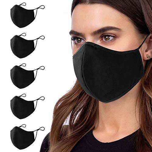 5 Pcs Cotton Black Face Masks Washable, Face Covering with Breathable Comfort Loops, Size Fit Small Face, Reusable Cotton Madk Men Women, Nose Curved Cover Design to Breath-Black Unisex
