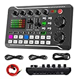 Tarjeta de sonido en vivo e interfaz de audio con efectos de mezclador de DJ y cambiador de voz, F988 Bluetooth Stereo Audio Mixer, para transmisión en vivo Youtube, PC, estudio de grabación y juegos