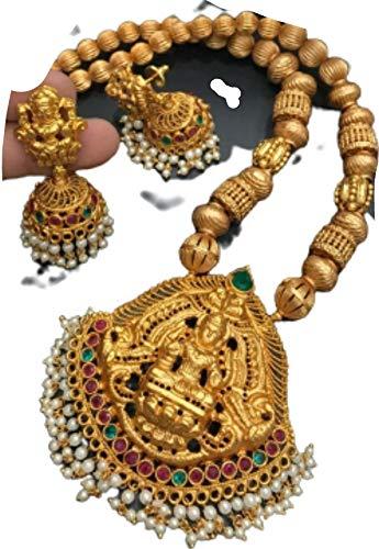 Crafting with Love - Juego de collar y colgante de aleación de oro Lakshmi con cadena y pendientes tradicionales de laxmi, longitud: 50,8 cm