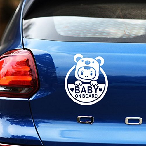 Kaizen Baby On Board Sticker Decals for Cars Sticker Baby in Car Windows Sticker for VW,Toyota,Honda,Chevrolet,Ford,Mercedes Benz,Audi,BMW and Any SUV,Truck or Sedan Car Color White