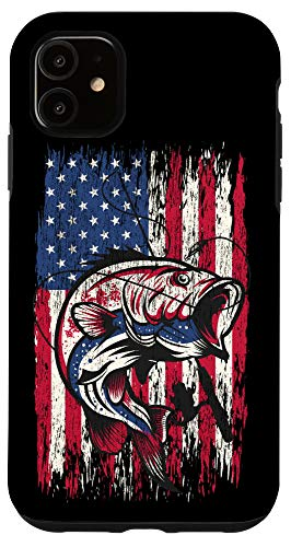 iPhone 11 Bass Fishing Case American Flag USA Fisherman Gifts Case