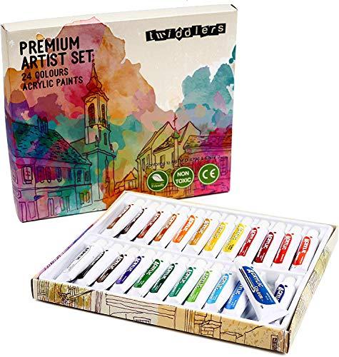 24 Pintura Acrílica, 24 Colores (12ml/Tubo)| Cristal Pared