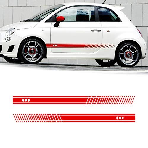 Sataka Für FIAT 500 Karosserie Seitenaufkleber Sport Racing Streifen Rock Fenster Tür Auto-Styling Dekorative wasserdichte Aufkleber 183x11cm type2 Rot