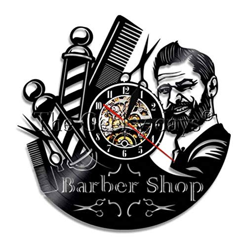 LED-Barber shop wall clock modern barber shop decoration vinyl record wall clock hanging barber shop wall watch barber salon