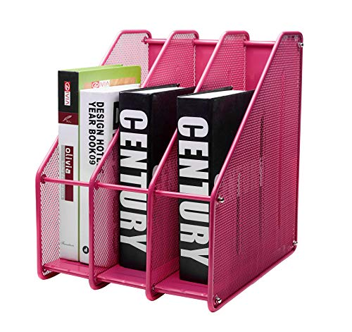 EXERZ Revistero archivador triple de malla metálica/Archivadores de revistas/Estante para escritorio- 3 Compartimentos para Organizador Archivo Documento/Cuadernos/Carpetas (Rosado)