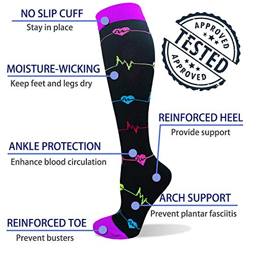 Diu Life Compression Socks Unisex, 20 - 25 mmHg, Ideal for Running, Sports, Therapeutic Use, Pregnancy and Travel - - S-M